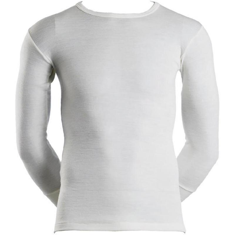 Langærmet t-shirt | 100% uld | hvid